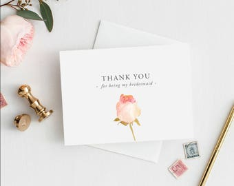 Printable 5x7 Thank You for being my Bridesmaid Wedding Card | Thank You Bridesmaid Wedding Card | Wedding Thank You Card