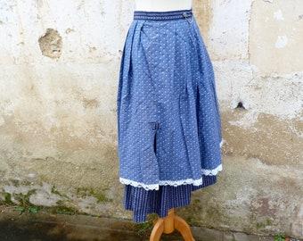 Vintage 1970/70s Tyrol Austria Trachten dirndl middle lenght flared floral printed cotton skirt  /Folk /boho/ German size S