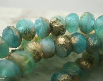 Seaglass, Rondelles, Czech Beads, Beads, N2349