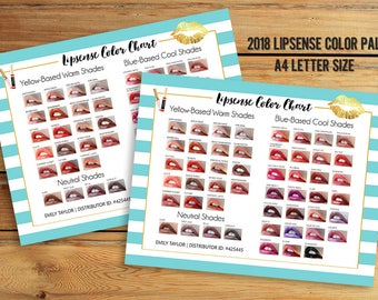 LipSense Color Chart - 50 LipSense Colors - Lipsense Color Palette - LipSense 2018 Colors - Color Chart A4 Size - You Print