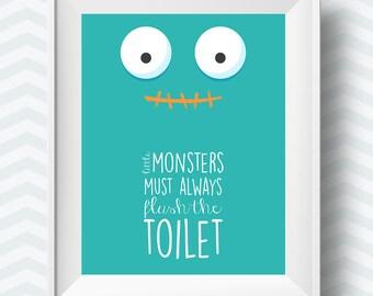 kids bathroom rules, bathroom printables, bathroom printable, Bathroom art, Bathroom Art Prints, green bathroom art, little monsters art