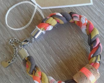 Fabric Rope Bracelet with Copper Cork Charm - Pink, Brown, White, Orange and Chartreuse