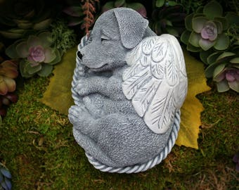 Angel Dog Statue - Concrete Angel Dog - Concrete Dog Memorial - Jack Russell Terrier, Lab, Etc.