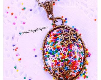 Candy Sprinkle Necklace, Rainbow Sprinkles, Candy Pendant,  Birthday , Christmas, Handmade By: tranquilityy