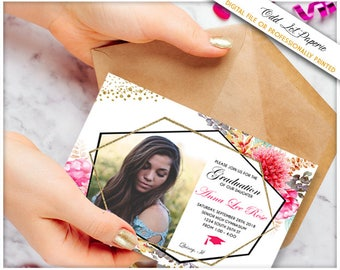 Floral Graduation Invitation Template Graduation Announcement High School Graduate College Graduate Boho Pink Geometric Gold Photo invite