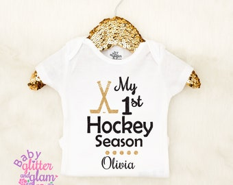 Baby Girl Hockey, My First Hockey Season, Baby Girl Clothes Outfit, 1st Hockey Season, Baby Hockey Outfit, Crawl Walk Hockey, I Love Hockey
