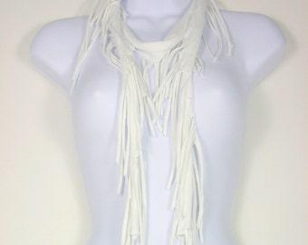 White Fringe Skinny Scarf White Skinny Scarves Fringe Scarves White Fringe Scarves White Cotton Scarf Cotton Fringe Scarf Fringe Necklace