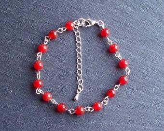 Orange Carnelian Bead Bracelet