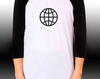 World Explorer Tee Shirt,  Raglan Baseball style, Choose Size and Color of imprint!