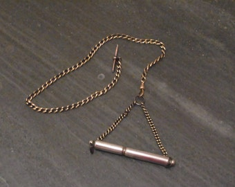 Antique Acme Silent Dog Whistle and Chain with T Bar and  Dog Clip  Vintage Whistle
