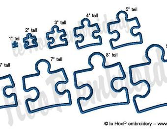 PUZZLE Piece Machine Applique Embroidery design 9 sizes Autism Awareness Speaks Aspbergers