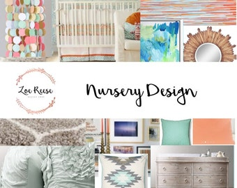 Nursery interior design: Digital service for nursery decor | Mood board, product list and space plan delivered via email