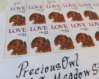 Puppy Love Full Sheet of 50 UNused 22 cent US Vintage Postage Stamps 1986 Rowlf The Dog Muppets Jim Henson Save the Date Wedding Postage