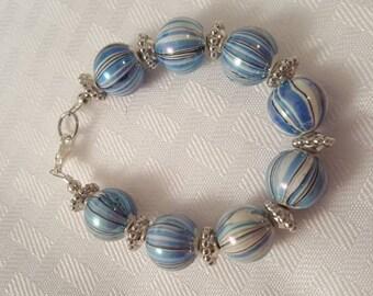 Blue White & Silver Acrylic Bead Bracelet - Blue Candy Stripe Bracelet - Blue Bracelet - White Bracelet - Candy Stripe Bracelet - Blue White