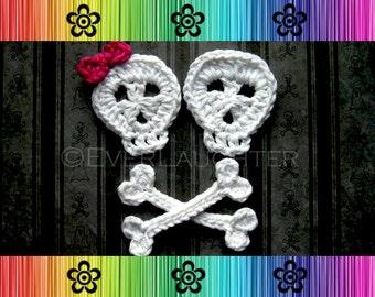 PATTERN-Crochet Skull and Crossbones Applique-Detailed Photos