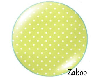 2 cabochons 18mm glass, dots, green