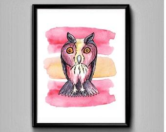 Owl-Printable art-Owl printable-Owl print-Owl watercolor print-Owl printable wall art-Owl wall art-Owl decor-Printable owl-Owl art print