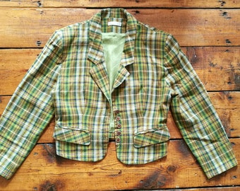 Vintage 1980s green and yellow plaid pattern cropped blazer