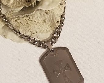Etched Dog Tag Cross Necklace, Stainless Steel Necklace, Etched Flame Cross Design, Stainless Steel Necklace, Military, Service Men, Women