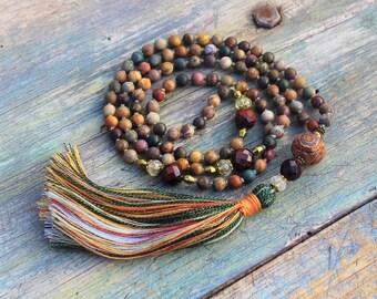 Mala necklace, mala beads 108, 108 mala beads, japa mala, knotted mala, mala, mala 108 perles, prayer beads, mala bead necklace, yoga gift