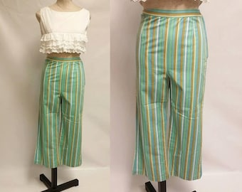 Vintage 1960's Blue, Green, Yellow, and White stripped cigarette capris pants high waisted retro fit pants womens size Medium 27 inch waist