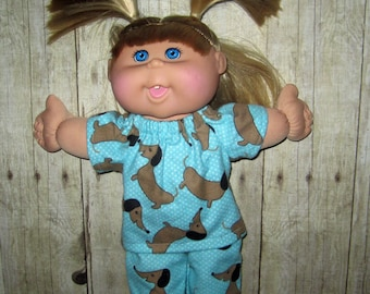 "Cabbage Patch Kids,  Doll Clothes, Aqua Dog Pajamas,  14""  or 15"" Doll Clothes,  Boy Or Girl Doll Clothes, Adoptimals"