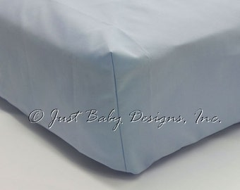 Fitted Crib Sheet - Light Blue Solid Cotton