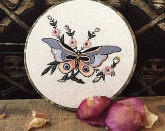 "Traditional tattoo flash style pastel moth 6"" Embroidery hoop art - wall hanging - hand embroidery"