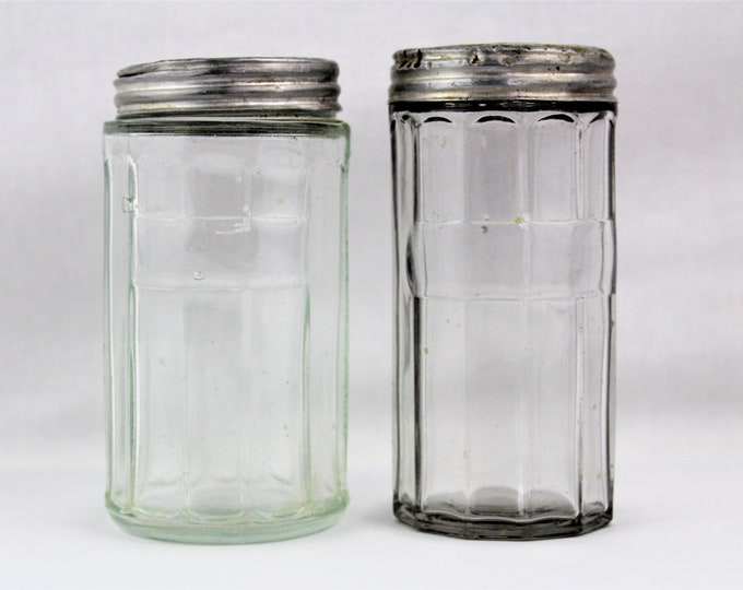 Two Antique Hoosier Cabinet Colonial Style Canister Spice Jars