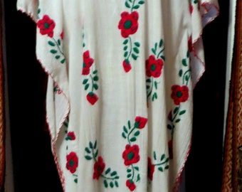 Fab Heavy Embroidered Mexican Gauze Caftan Dress
