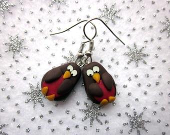 Christmas Robin Earrings, Festive Earrings, Christmas Jewelry, Polymer Clay Earrings, Xmas Jewellery, Red Robin Bird Jewellery