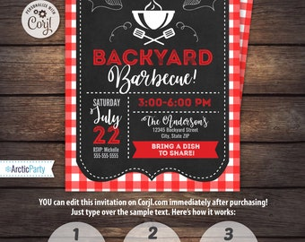 BBQ Invitations - BBQ Birthday - BBQ Party Invitations - Backyard bbq - Barbecue - Instant Access- Edit now with Corjl.com - Arctic Party