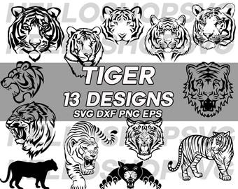 tiger svg, tiger head svg, fierce tiger, clipart, decal, stencil, silhouette, eps, dxf, png, vinyl, cut file, iron on, cuttable, cricut file