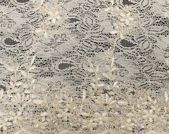 Mia IVORY Floral Sequined Corded Vine Embroidered Scalloped Edge Lace Fabric by the Yard - SKU 1008