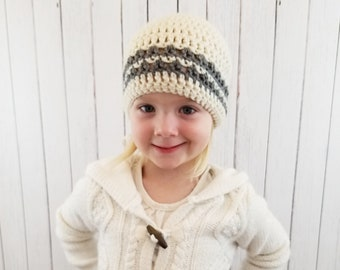 Striped Crochet Hat, Preemie to Adult Sizes