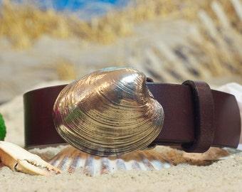 Brass Quahog Leather Belt