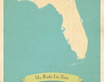 Florida State Map Poster, Map Wall Art, Map Artwork, Map Wall Decor, 11x14, Customized Print, Florida Roots Map, Custom travel map