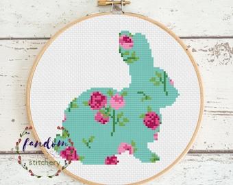 Vintage Bunny Rabbit Cross Stitch PDF Pattern | Floral Bunny Cross Stitch Pattern | Vintage Floral Cross Stitch Pattern