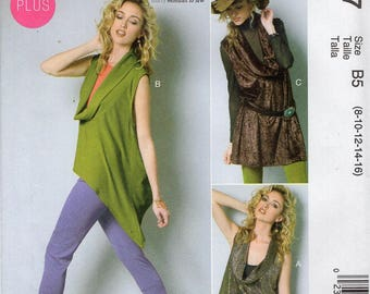 FREE US SHIP McCall's 6607 Nancy Zieman Cowl Neck Top Tunic Sewing Pattern Old Store Stock Size 18/24 Bust 40 42 44 46 (Last size left) new