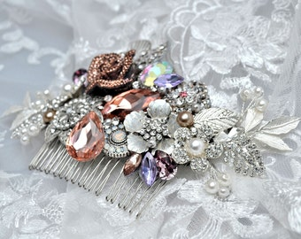 Swarovski crystal Peach Champagne Lilac Tanzanite and Silver Classic Gatsby Vintage rose Bridal Hair Comb Piece Slide