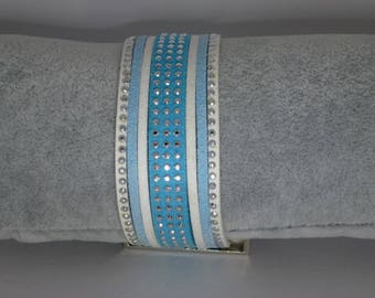 White and Blue Suede Cuff Bracelet