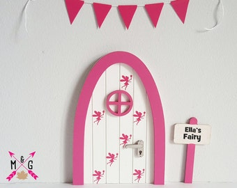 fairy door with  personalised signpost and miniuature bunting