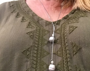 Grey Baroque Pearls and Leather Lariat Necklace   Bohemian Jewelry  Wrap Necklace    Bolo Tie     Pearl choker