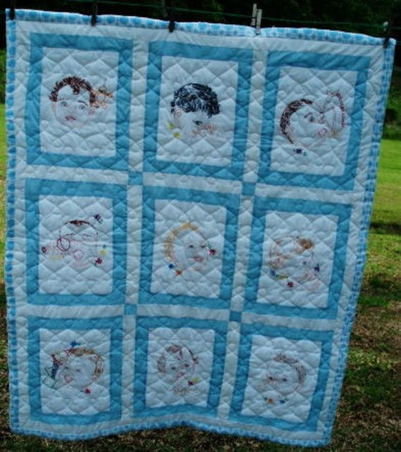 Baby Faces Quilt Pattern Hand Embroidery Design 832 Pdf Instant