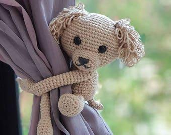 Dog curtain tie back, cotton yarn crochet dog, amigurumi dog.