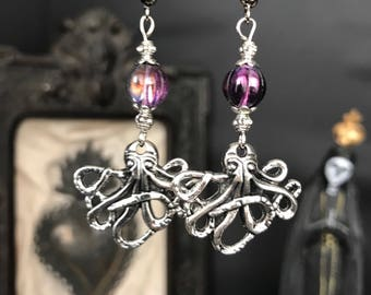 Purple Octopus - octopus - lovecraft - chtulu - pirate - sailor earrings