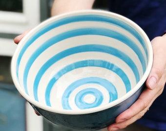 Deep bowl in bright blue, ceramic