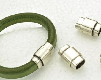 3 Clasp for Licorice Leather - Silver Magnetic Plug-style Clasps -  for Leather Bracelet - Fits ALL 10x6mm Cord