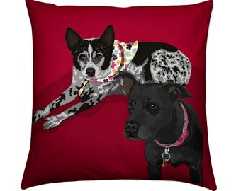 2 Pet Portrait Pillow, Dog Portrait, Cat Portrait, Custom Pet Cushion, Dog Pillow, Pet Cushion, Dog Cushion, Pet Owner Gift, Dog Gift