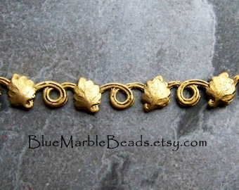 Reserved for Sue, Vintage Finding-Solid Brass-Leaves-Leaf Stamping-Bar Stamping-Brass Finding-Floral Stamping-Brass Banding-1 Piece